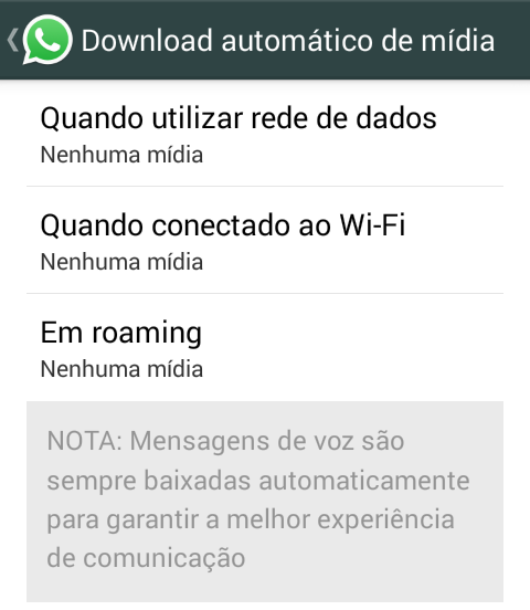 desabilitar download whatsapp