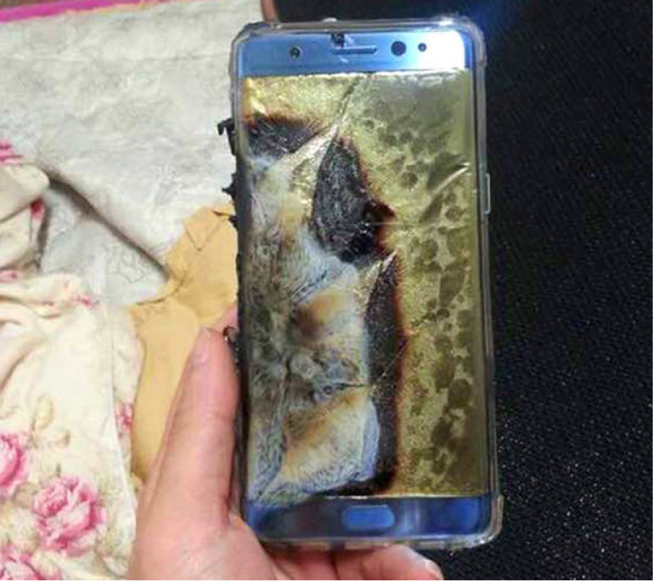 galaxy note 7 destruido