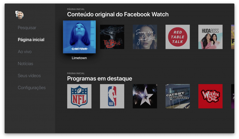 Conteúdo original do Facebook Watch.